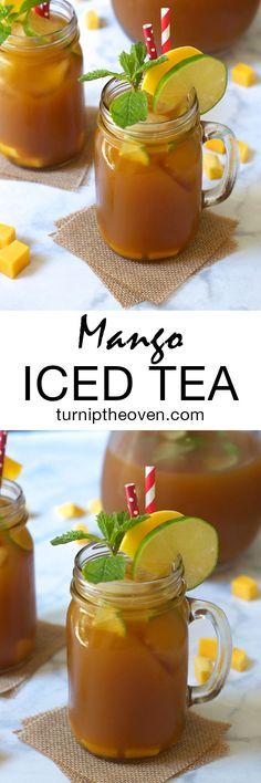 Easy Mango Iced Tea made with black tea, mango nectar, agave, and freshly squeezed lime juice. The perfect refreshing drink!