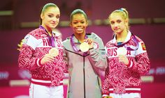 All Around Champs!    1. Gabby Douglas (USA)  2. Victoria Komova (Russia)  3. Aliya Mustafina (Russia)