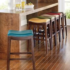 Julien Leather Bar Stool - Grandin Road