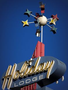 Holiday Lodge Vintage Signage Photograph by James Herman. Roadside Attractions, Roadside Signs, Retro Signage, Vintage Neon Signs, Atomic Age, Retro Futuristic, Old Signs, Advertising Signs, Googie