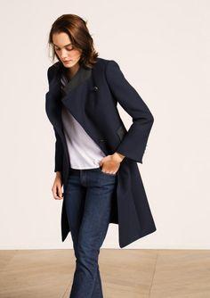 Manteau esprit officier bleu nuit