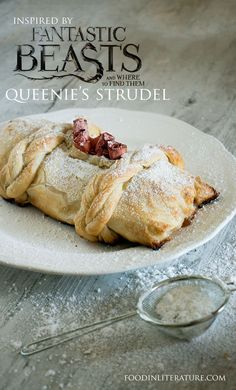 Serve up an easy version of Queen's Strudel recipe from Fantastic Beasts and Where To Find Them. recipes chicken recipes crockpot recipes easy recipes for dinner recipes healthy food recipes Just Desserts, Delicious Desserts, Dessert Recipes, Yummy Food, Apple Desserts, Strudel Recipes, Harry Potter Food, Dessert Aux Fruits, Le Diner