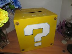 Super Mario Bros style question mark mystery WEDDING CARD BOX