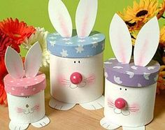 How to make bunny boxes - perfect for Easter decorating Kids Crafts, Bunny Crafts, Diy And Crafts, Easter Projects, Craft Projects, Spring Crafts, Holiday Crafts, Happy Easter, Easter Bunny