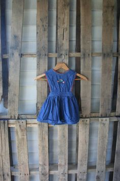 Vintage Denim Criss Cross Jumper Dress with Flowers by by vintapod