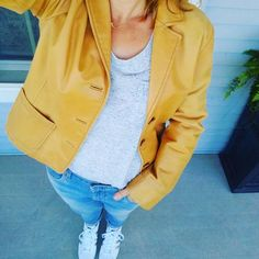 Caramel leather blazer with a Stitch Fix gray drapey tee with boyfriend jeans and white and silver Adidas Superstars for a casual spring and summer outfit; Stella  Dot Aurora necklace in gold . . #summerstyle #momstyle #40plusstyle #fashionover40 #styleover40 #casualstyle #ootd #leatherblazer #boyfriendjeans #adidas  #stitchfix