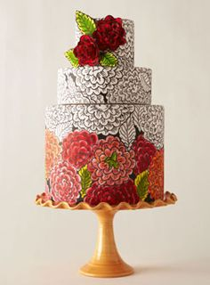 Seriously amazing!!! hand painted fondant with gumpaste flowers. I want to attempt something like this!