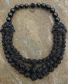 Victorian Whitby Jet 3-Strand Mourning Necklace (