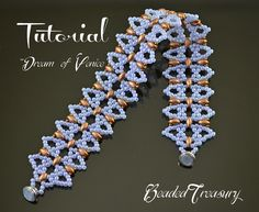 """This listing is for a digital Photo Tutorial. Beaded lace bracelet """"Dream of Venice"""". You can learn to make this beautiful bracelet yourself with this detailed tutorial! The digital tutorial is written in English language and includes: - information on materials and tools needed, -step by step instruction with photos and text. Technique: bead weaving, netting stitch. Skill level: Intermediate. Materials needed:"""