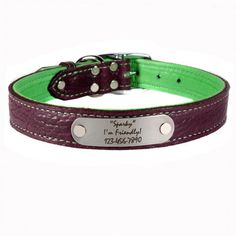 Personalized Bison Leather Dog Collars - Heavy duty and super-soft!! $45 at www.dogids.com
