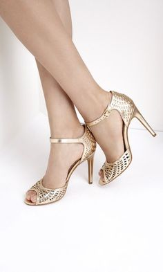 Gold Laser Cut Peep Toe Heels - so gorgeous!