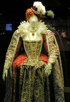 Costume for Elizabeth I made for the opening of the new Shakespeare's Globe Theatre, Bankside, London