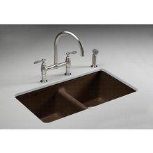 "View the Kohler K-5840-5U Anthem 33"" Double Basin Under-Mount Enameled Cast-Iron Kitchen Sink  at Build.com."