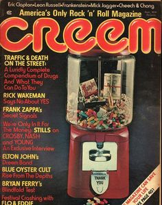 item details: Entire Issuekeywords: Eric Clapton, Leon Russell, Frankenstein, Mick Jagger, Cheech & Chong, Rick Wakeman, Frank Zappa, Elton John, Blue Oyster CultCreem (which is always capitalized in