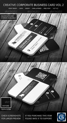 """Creative Corporate Business Card Vol 2  #GraphicRiver        GENERAL DESCRIPTION This Double sided Creative Corporate Business Card is suitable for any business or personal use. Round corner and square corner available. DESIGN DESCRIPTION   print size 3.5"""" x 2"""" ( 3.75"""" x 2.25"""" with bleed )  CMYK color mode  Resolution optimized (300dpi), ready to print  Fully editable  Well organized and named layer  Very easy to customize (Full customization possible)  Unique design  FILES INCLUDED   2…"""