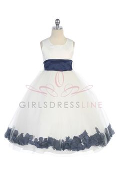 White & Navy blue flower girl dress with petals & Sash for the girls