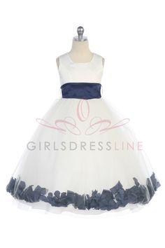 The ivory is not really ivory...Navy blue Satin & Tulle Flower Girl Dress with Petals & Sash G2570N $39.95 on www.GirlsDressLine.Com