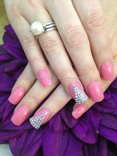 Clients own pink polish with Swarovski crystal ring fingers | Deco or Festive Design
