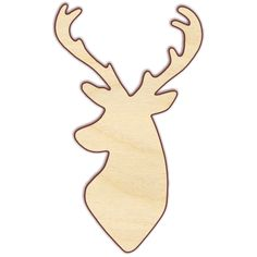 """Deer head Unfinished wood cut from 1/4"""" Baltic birch plywood, unless otherwise indicated. Sizes shown with (1/8"""") next to them will be cut from 1/8"""" Baltic birch plywood. Pieces are laser cut, which r"""