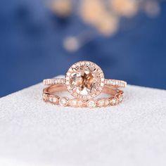 Morganite Ring Set Rose Gold Engagement Ring Diamond Halo