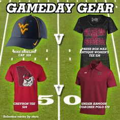 West Virginia, Oklahoma, Georgia and South Carolina gameday gear! #football #college #sports #team