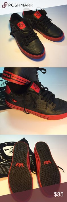 Fantastic Supra Sneakers Super Supra Low Stacks like new, ECU. The only flaw I can find is the interior heal logo is worn. Exterior black leather uppers, strings, sole and emblems near perfect. Check out these shoes. Get them now, bundle for a better deal. Supra Shoes Sneakers