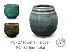 AMACO Potter's Choice layered glazes PC-30 Temmoku and PC-27 Tourmaline.