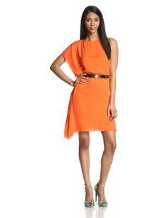 HALSTON HERITAGE Women's Silk Asymmetric Drape Sleeve Dress with Belt, Tangerine, X-Small Halston Heritage http://www.amazon.com/dp/B00HF62DFC/ref=cm_sw_r_pi_dp_EkWaub18N4KXG