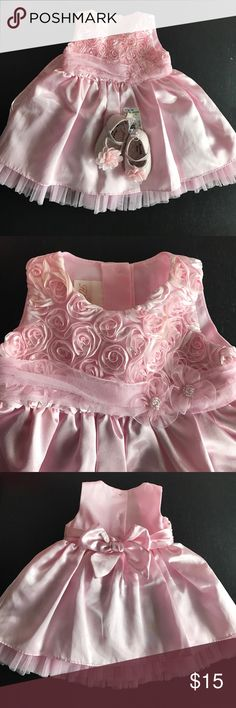 Baby girl special occasion dress in pink Light pink  satin dress with bow sash and tulle bow in sz 3-6 months, floral design on top, button half way down back, bow on back, perfect for special occasion birthday parties or weddings.  Shoes not included, but part of another bundle Dresses
