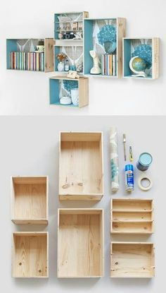 DIY painted wooden boxes on the wall hold books and decor