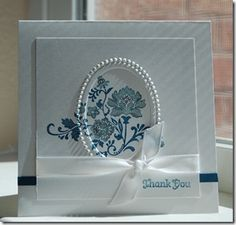 Stampin' Up! via Linda Keal on SCS using Fresh Vintage.like the blue on white Vintage Stamps, Vintage Cards, Embossed Cards, Beautiful Handmade Cards, Mothers Day Cards, Paper Cards, Flower Cards, Creative Cards, Greeting Cards Handmade