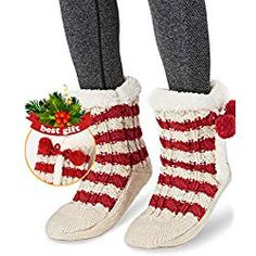 Womens Christmas Fuzzy Slipper Sock Ladies Warm Funny Cable Knit Socks With Grips Happy Christmas Day, Womens Christmas, Cozy Christmas, Fuzzy Slippers, Slipper Socks, Cable Knit Socks, Knitting Socks, Matching Family Christmas Pajamas, Lady