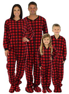 SleepytimePjs Family Matching Red Plaid Fleece Onesie PJs Footed Pajama  Matching Pajamas daf686034