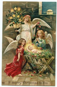 A Merry Christmas Angels  German Postcard, 1908..