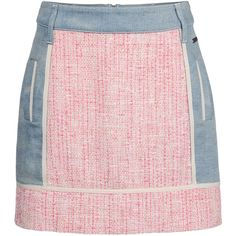 Blumarine Mini Skirt (20.385 RUB) ❤ liked on Polyvore featuring skirts, mini skirts, fuchsia, colorful skirts, short pink skirt, fuchsia skirts, multi color skirt and tweed skirt
