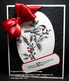"""Stamping with Julie Gearinger: Chickadee Christmas- """"Hybrid"""" Clean and Simple"""