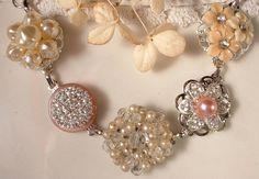 "OOAK Vintage Blush Pink & Ivory Pearl and Rhinestone Bridal Bracelet, Heirloom Cluster Earring Silver Plated Bracelet by ""AmoreTreasure"" on Etsy"