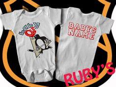 Pittsburgh Penguins Custom One Piece Jersey Romper Baby Loves Penguins