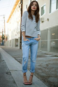Love. Black and white striped long sleeved top with the sleeves pushed up, cuffed boyfriend denim, black strappy stilettos, red lips and gold jewelry. So me. I'd love this with high top converse. #myreduns