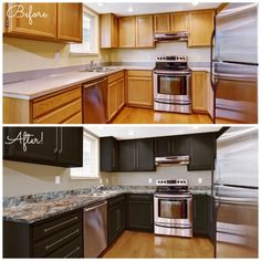 Before & After - Chocolate Brown Giani specialty paints for counters, cabinets and appliances.