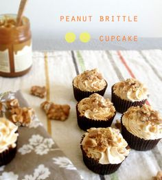 Peanut Brittle Cupcake topped with Caramel Frosting #delicious #cupcake #recipes http://thecupcakedailyblog.com/peanut-brittle-cupcake/