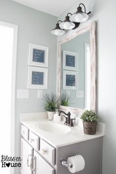 love the faucet upgrade (this is a how-to post!), and that light fixture! <3