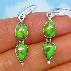 D171221 Genuine Mojave Green Turquoise Dragonfly Earrings Dangles Studs Posts