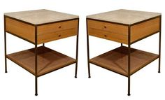 Paul McCobb - Brass Travertine Bedside Tables