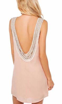 With Crochet Open Back A-Line Pink Dress    #PinScheduler -- http://mbsy.co/tailwind/18956816