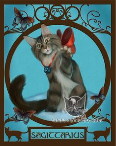 New release today, Sagittarius cat. Prints are available on my website http://www.ashevans.com/ and Etsy: https://www.etsy.com/listing/151799095/ash-evans-sagittarius-zodicat-zodiac-cat
