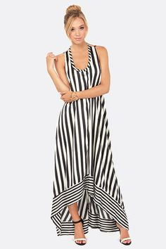 Stripe Up the Band Black and White Striped Maxi Dress at Lulus.com
