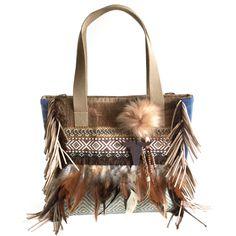 Navajo handtas bruin met veren en franje
