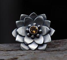 Naturales Mandalas - citrino y anillo de plata esterlina