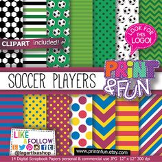 Football Soccer Digital Paper, Patterns, Backgrounds, blue chevron, Yellow, Red, for birthday party printables invitations